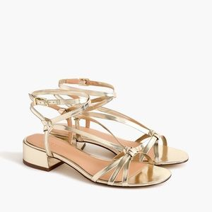 NIB J. Crew metallic gold strappy sandals 6.5
